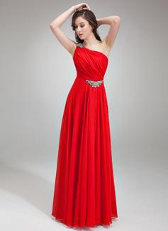 A-Linie/Princess-Linie One-Shoulder-Träger Bodenlang Chiffon Abendkleid mit Rüschen Perlen verziert (017018785)