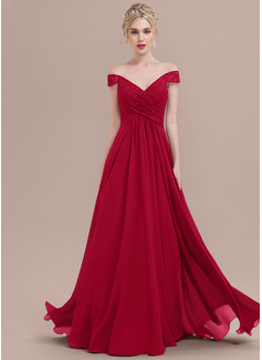 A-Linie/Princess-Linie Off-the-Schulter Bodenlang Chiffon Lace Abendkleid mit Rüschen (017124652)