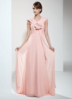 Empire-Linie V-Ausschnitt Sweep/Pinsel zug Chiffon Kleid für die Brautmutter mit Rüschen Blumen (008006454)