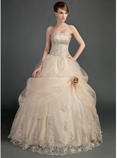Ball-Gown Strapless Floor-Length Organza Satin Wedding Dress With Ruffle Lace Beading Flower(s) (002012000)