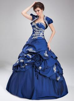 Duchesse-Linie Schatz Bodenlang Taft Quinceañera Kleid (Kleid für die Geburtstagsfeier) mit Rüschen Perlstickerei Applikationen Spitze Pailletten (021004677)