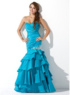 Robe de Bal de Promo Sirene Cur Longeur au sol Taffetas Robe de Bal de Promo avec Ondul Brod Appliques (018004826)