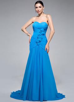 Trompete/Meerjungfrau-Linie Herzausschnitt Sweep/Pinsel zug Chiffon Abendkleid mit Rüschen Perlen verziert Blumen (017041140)