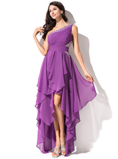 A-Line/Princess One-Shoulder Asymmetrical Chiffon Homecoming Dress With Ruffle Beading Sequins (022051523)