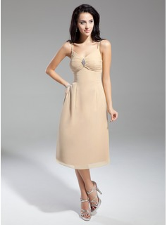 Empire V-neck Knee-Length Chiffon Bridesmaid Dress With Ruffle Crystal Brooch (007014970)