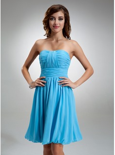 A-Line/Princess Sweetheart Knee-Length Chiffon Bridesmaid Dress With Ruffle (007004986)