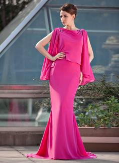 Trompete/Meerjungfrau-Linie U-Ausschnitt Sweep/Pinsel zug Chiffon Kleid für die Brautmutter mit Perlen verziert (008018972)