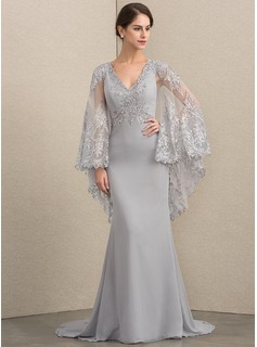Trumpet/Mermaid V-neck Sweep Train Chiffon Lace Evening Dress With Beading Sequins (017192563)