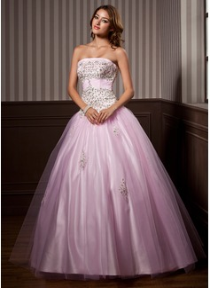Duchesse-Linie Trägerlos Bodenlang Tüll Quinceañera Kleid (Kleid für die Geburtstagsfeier) mit Rüschen Perlstickerei Pailletten (021004579)