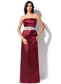 Etui-Linie Trägerlos Bodenlang Charmeuse Abendkleid mit Rüschen Perlen verziert Applikationen Spitze Pailletten (017051629)