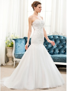 Trumpet/Mermaid Sweetheart Sweep Train Tulle Lace Wedding Dress With Beading Sequins (002054623)