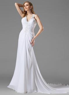 Forme Princesse Dos nu Traîne courte Mousseline Robe de mariée avec Plissé Emperler (002000442)
