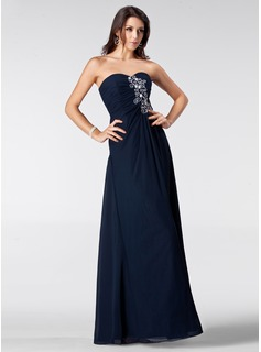Prom Dresses Sheath Sweetheart Floor-Length Chiffon Prom Dress With Ruffle Beading (018005211)