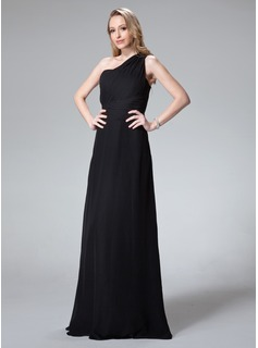 A-Line/Princess One-Shoulder Floor-Length Chiffon Bridesmaid Dress With Ruffle (007004281)