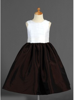 A-Line/Princess Ankle-length Flower Girl Dress - Taffeta Sleeveless Scoop Neck With Flower(s) (010007328)