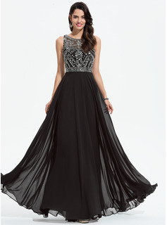 A-Line Scoop Neck Floor-Length Chiffon Prom Dresses With Beading (018175917)