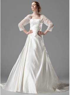 Robe de Marie Ligne-A/Princesse Encolure carre Trane Chapelle Satin Tulle Robe de Marie avec Ondul Dentelle Perl (002000497)