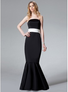 Trumpet/Mermaid Strapless Sweep Train Satin Bridesmaid Dress With Sash Bow(s) (007001773)