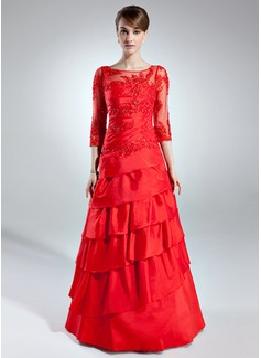A-Linie/Princess-Linie U-Ausschnitt Bodenlang Taft Kleid für die Brautmutter mit Spitze Perlen verziert Gestufte Rüschen (008006255)