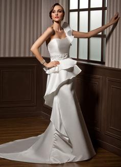 Forme Sirène/Trompette Encolure asymétrique Traîne mi-longue Satiné Robe de mariée avec Emperler Robe à volants (002011693)