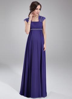 Empire-Linie Rechteckiger Ausschnitt Bodenlang Chiffon Brautjungfernkleid Für Schwangere mit Rüschen Lace Perlstickerei (045021003)