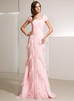 A-Linie/Princess-Linie U-Ausschnitt Sweep/Pinsel zug Chiffon Abendkleid mit Gestufte Rüschen (017014216)