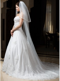Two-tier Chapel Bridal Veils With Ribbon Edge (006034322)