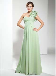 Empire One-Shoulder Floor-Length Chiffon Evening Dress With Ruffle Flower(s) (017002586)
