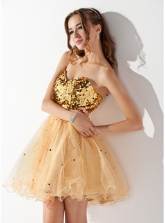 A-Line/Princess Sweetheart Short/Mini Tulle Sequined Homecoming Dress (022020903)