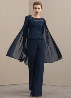 U-Ausschnitt Bodenlang Chiffon Spitze Kleid für die Brautmutter mit Perlstickerei (008152138)