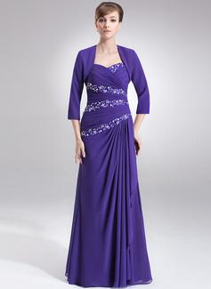 A-Linie/Princess-Linie Schatz Bodenlang Chiffon Kleid für die Brautmutter mit Rüschen Perlstickerei Pailletten (008006030)