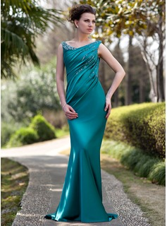 Trumpet/Mermaid Off-the-Shoulder Sweep Train Charmeuse Mother of the Bride Dress With Ruffle Beading Sequins (008022934)