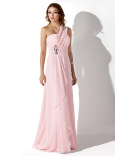 Empire One-Shoulder Sweep Train Chiffon Evening Dress With Ruffle Beading (017002568)