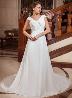Forme Princesse Col V Traîne mi-longue Mousseline Robe de mariée avec Plissé Emperler (002011766)