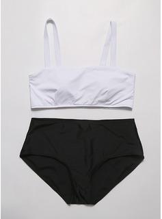Sexy Couleur unie De chinlon Bikinis Tankinis (Lot de 2 pièces) Maillot de bain (202196156)