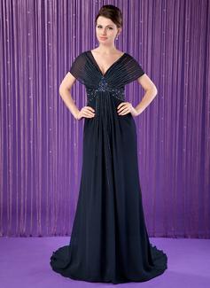 Trompete/Meerjungfrau-Linie V-Ausschnitt Hof-schleppe Chiffon Kleid für die Brautmutter mit Perlstickerei Pailletten (008018716)