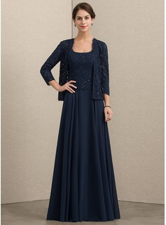 A-Line/Princess Square Neckline Floor-Length Chiffon Lace Mother of the Bride Dress With Sequins (008164103)