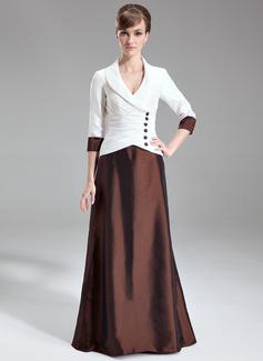 A-Linie/Princess-Linie V-Ausschnitt Sweep/Pinsel zug Taft Kleid für die Brautmutter mit Rüschen (008006302)