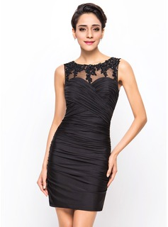 Sheath/Column Scoop Neck Short/Mini Jersey Cocktail Dress With Ruffle Beading Appliques Lace Sequins (016055962)