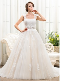 Ball-Gown Sweetheart Chapel Train Tulle Wedding Dress With Beading Appliques Lace Sequins (002056241)