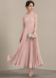 A-Linie/Princess-Linie U-Ausschnitt Knöchellang Chiffon Spitze Kleid für die Brautmutter mit Gefaltet (008143377)