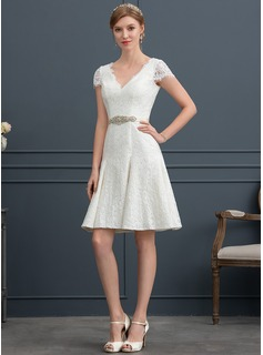 A-Line V-neck Knee-Length Lace Wedding Dress With Beading (002171924)