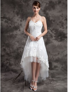 Robe de Marie Ligne-A/Princesse Col V Assymetrique Organza Tulle Robe de Marie avec Dentelle Perl (002024067)