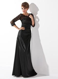 A-Linie/Princess-Linie U-Ausschnitt Bodenlang Charmeuse Lace Kleid für die Brautmutter mit Rüschen Perlen verziert (008006037)