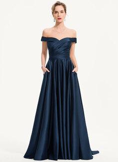 A-Linie Off-the-Schulter Sweep/Pinsel zug Satin Abendkleid mit Taschen (017186128)