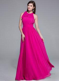 A-Linie/Princess-Linie U-Ausschnitt Bodenlang Chiffon Abendkleid mit Rüschen Inspiriert von 84th Oscar (017026074)