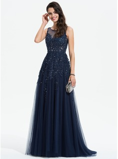 A-Line Scoop Neck Sweep Train Tulle Evening Dress With Lace Beading (017196094)