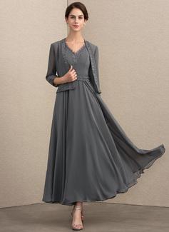 A-Linie/Princess-Linie V-Ausschnitt Knöchellang Chiffon Kleid für die Brautmutter mit Perlstickerei Pailletten (008164083)