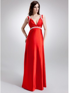 Empire V-neck Sweep Train Charmeuse Maternity Bridesmaid Dress With Ruffle Lace Beading (045022465)