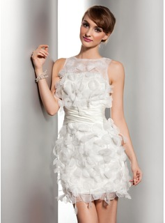 Sheath/Column Scoop Neck Short/Mini Satin Organza Wedding Dress With Ruffle Flower(s) (002014506)